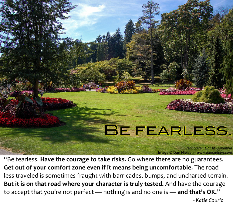 """""""Be fearless. Have the courage to take risks. Go where there are no guarantees. Get out of your comfort zone even if it means being uncomfortable. The road less traveled is sometimes fraught with barricades bumps and uncharted terrain. But it is on that road where your character is truly tested. And have the courage to accept that you're not perfect nothing is and no one is — and that's OK."""" - Katie Couric"""