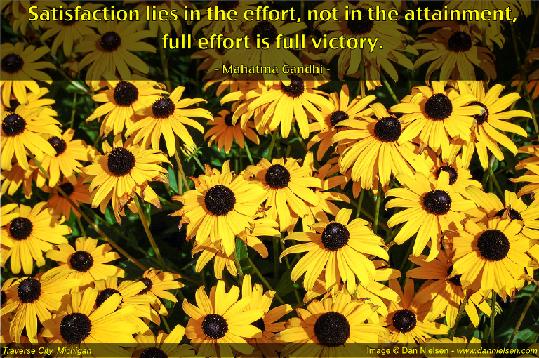 """Satisfaction lies in the effort, not in the attainment, full effort is full victory.""  - Mahatma Gandhi"