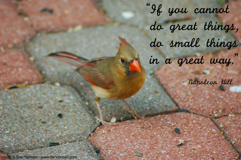 """""""If you cannot do great things, do small things in a great way. """" - Napoleon Hill"""