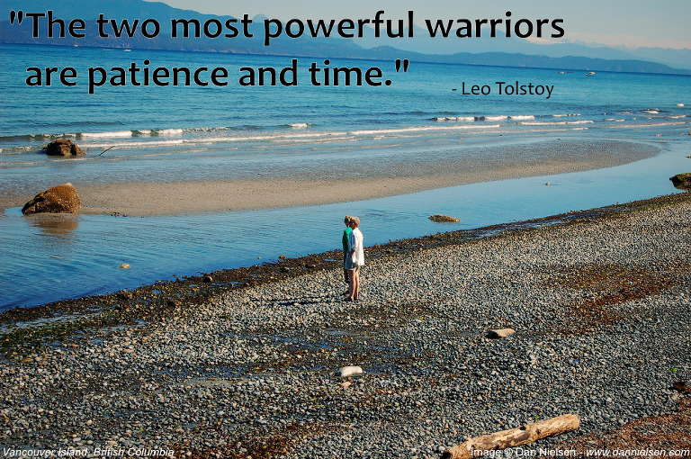 """The two most powerful warriors are patience and time."" - Leo Tolstoy"