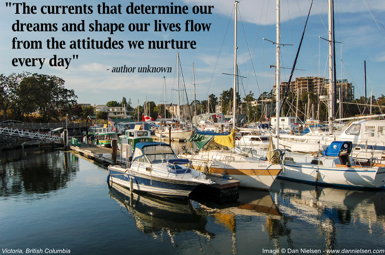 """""""The currents that determine our dreams and shape our lives flow from the attitudes we nurture every day"""" - Author Unknown"""