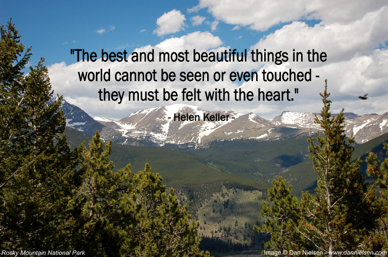"""The best and most beautiful things in the world cannot be seen or even touched–they must be felt with the heart."" - Helen Keller"